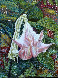 Rosa blüte, Abstrakt, Daturapflanze, Herbstlaub