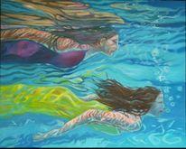 Tauchen, Frau, Blau, Schwimmen