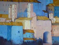 Italien, Bergdorf, Ölmalerei, Gebäude