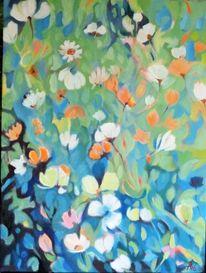 Grün, Blumen, Blau, Weiß