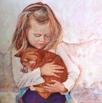 Kind, Mädchen, Katze, Malerei