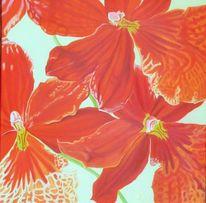 Rot, Orchidee, Blumen, Malerei