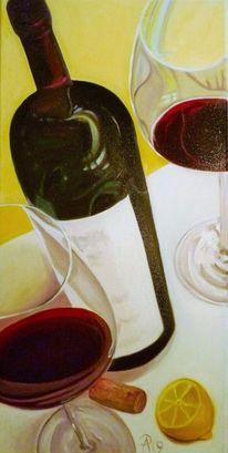 Zitrone, Rotwein, Kork, Flasche