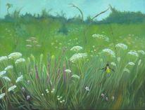 Wiese, Ölmalerei, Grün, Natur