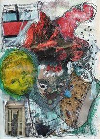 Tagebuch, Weg, Collage, Farben