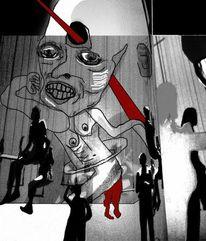 Menschen, Fusion, Schatten, Bühne