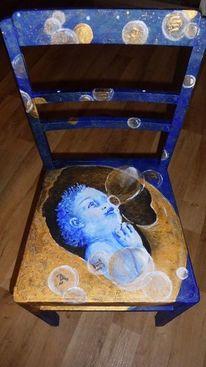 Acrylmalerei, Kind, Mond, Seifenblasen
