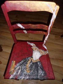 Mischtechnik, Acrylmalerei, Alte stühle, Möbelmalerei