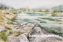 Fluss, Birs, Reinach bl, Aquarellmalerei