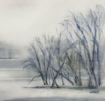 Winter, Moldau, Prag, Aquarell