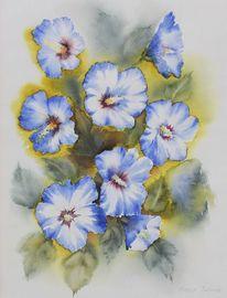 Pflanzen, Hibiskus, Aquarellmalerei, Aquarell
