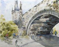 Kampa, Prag, Karlsbrücke, Aquarell
