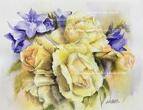 Blumen, Rose, Glockenblumen, Aquarell