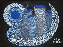 Fantasie, Abstrakt, Blau, Acrylmalerei