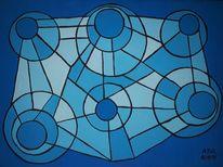 Linie, Pinsel, Blautöne, Acrylmalerei