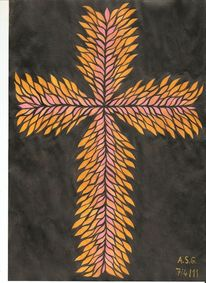 Temperamalerei, Flammenkreuz, Kreuz, Orange