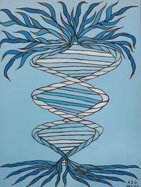 Blau, Pinsel, Baum, Acrylmalerei