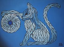Spiel, Acrylmalerei, Blautöne, Katze