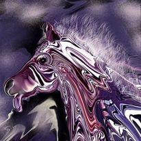Lila, Zeichnung, Pferde, Schmetterling