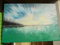 Sonnenuntergang, Acrylmalerei, Sonnenaufgang, Natur