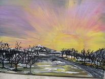 Sonnenuntergang, Sonnenaufgang, Acrylmalerei, Landschaft