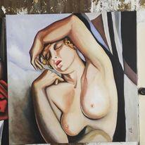 Schlaf, Frau, Blick, Malerei