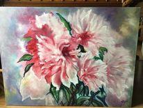 Rosa, Leinen, Weiß, Gemälde