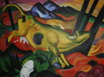 Franz marc, Die gelbe kuh, The yellow cow, Gemälde