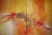 Terra, Gelb, Spachteltechnik, Malerei