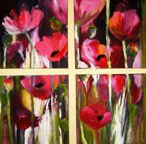 Blumen, Mohn4, Malerei, Mohn