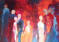 Blau, Acrylmalerei, Menschen, Modern
