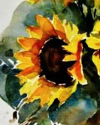 Sonnnenblumen, Aquarell, Blumen, Sonnenblumen