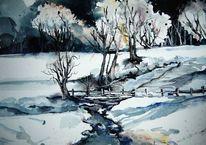 Aquarell, Landschaft, Winterlandschaft