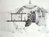 Photoobjektiv, Gewehrmündung, Nashorn, Zeichnung