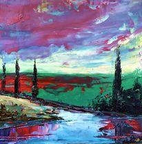 Abstrakte landschaft, Spachtel technik, Malerei, Öl gemälde