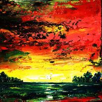 Landschaft, Abstrakt, Spachteltechnik, Malerei