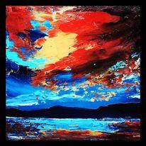 Spachteltechnik, Ölmalerei, Abendstimmung, Malerei