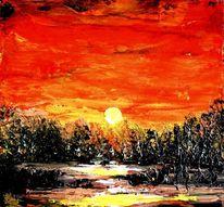Sonnenuntergang, Ölfarben, Spachteltechnik, Malerei