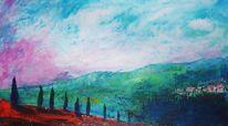 Ölmalerei, Toskana, Spachteltechnik, Malerei