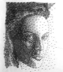 Portrait, Faden, Nagel, Mischtechnik