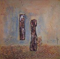 Noppenfolie, Acrylmalerei, Struckturspachtel, Holzstücke