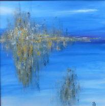 Skyline, Acrylmalerei, Blau, Malerei