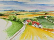 Bauernhaus, Bayer, Landschaftsmalerei, Aquarell dachauer land