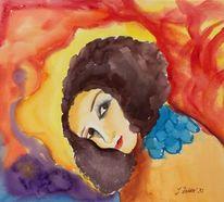 Portrait, Aquarellmalerei, Expressionismus, Frau