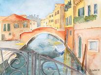 Venedig, Stadtansicht, Aquarell, Stillleben