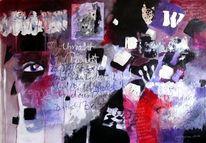 Acrylmischtechnik, Ungegenständlich, Violett, Zitat