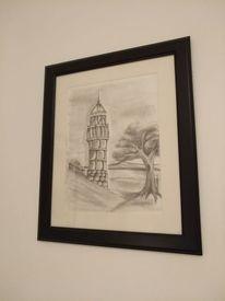 Bleistiftzeichnung, Aussichtsturm, Landschaft, Wasser