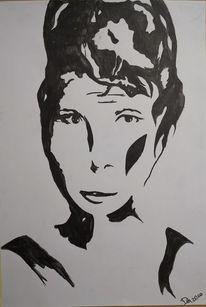 Frau, Schwarz weiß, Schatten, Malerei