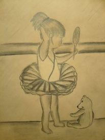 Ballerina, Teddybär, Kleines mädchen, Zeichnungen