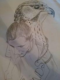 Gesicht, Falke, Zeichnungen, Frankreich